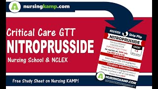 What is Nitroprusside Nipride Medications Nursing KAMP's ICU Gtt NCLEX 2020