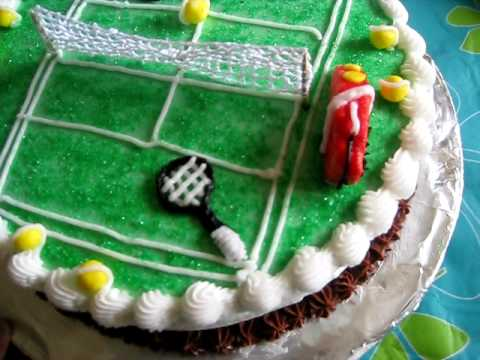 tennis theme cake decoration - YouTube
