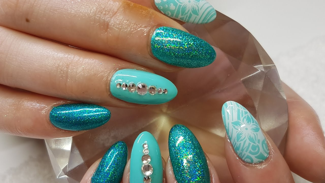 Acrylic Nails Teal Holo & White Stamping With Gems Nail Design - YouTube