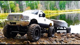 RC Boat Launch! 4x4 RC Truck With Boat Trailer! Axial SCX10 4x4 And Traxxas Boat Ford F350