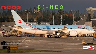 Neos first Boeing 787-9 dreamliner EI-NEO take off from Paine field Everett