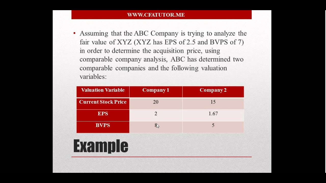 Comparable Company Analysis   CFA Tutor