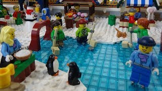 Lego Christmas winter village animation with winter train station and Lego winter trains