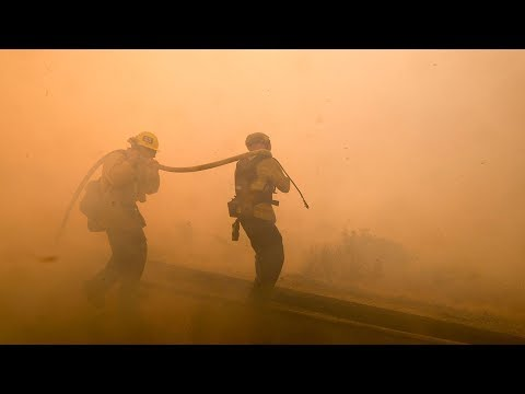 Live look as firefighters continue to battle the Woolsey Fire in California