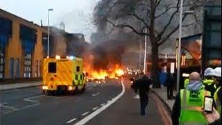 London helicopter crash: wreckage strewn across street