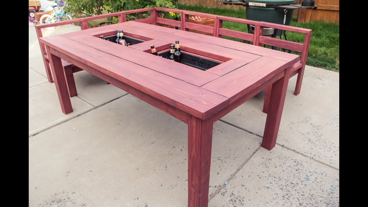patio table with built in ice boxes how to build youtube rh youtube com patio table with built in cooler plans patio table with built in cooler plans