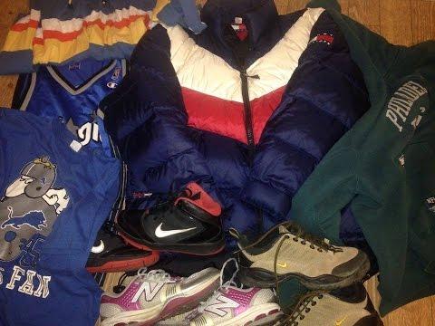 Thrift shop finds vintage Tommy Hilfiger Nike new balance champion jersey Nintendo quan sneaker haul