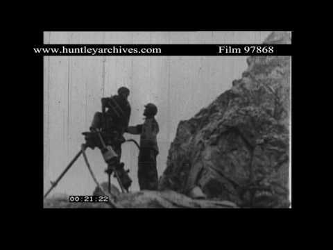Asbestos Mining, Thetford, Quebec, Canada, 1940's.  Archive film 97868