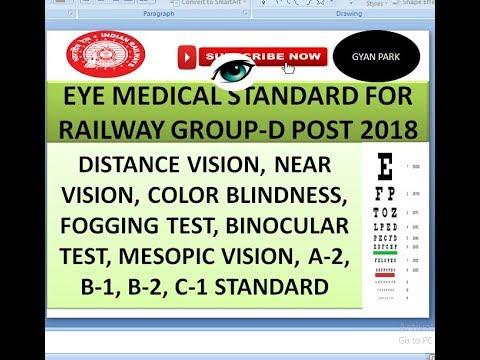 EYE MEDICAL STANDARD FOR RAILWAY GROUP -D EXAM 2018 VISION TEST Full  explanation in हिंदी।