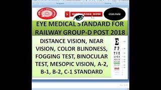 ba18c6c991b EYE MEDICAL STANDARD FOR RAILWAY GROUP -D EXAM 2018 VISION TEST Full  explanation in हिंदी