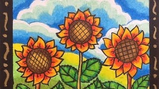 DIY How to Draw and Color Cartoon Sunflowers