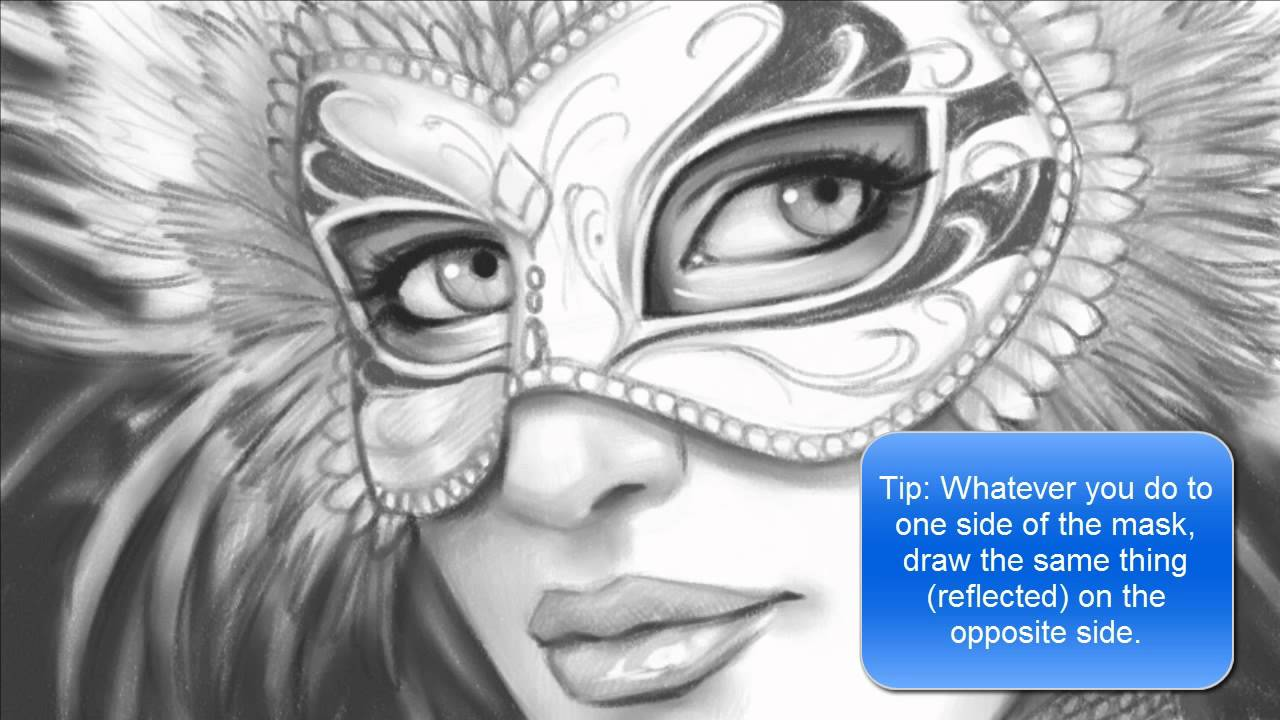 how to draw a face with a mardi gras mask part 2 of 2 youtube
