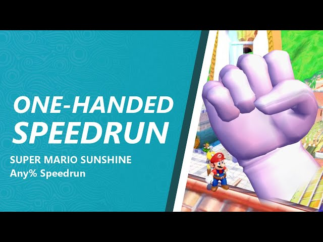 Super Mario Sunshine Any% but with one hand