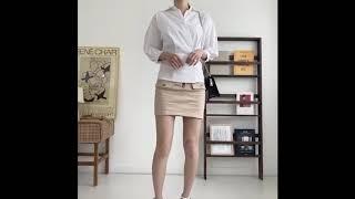 제이앤티 화이트 셔츠 + 슬림핏 지퍼 스커트 투피스 세…