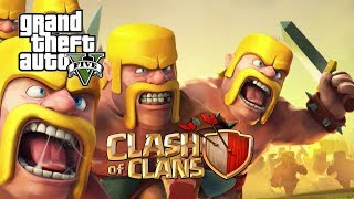 កំចាត់ឆ្អឹងខ្មោច​​ GTA 5 Clash Of Clans Mod w/ Barbarian | GTA V Mods Gameplay