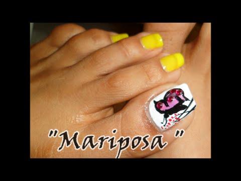 Decoración Mariposa paso a paso para las uñas de los pies/Butterfly design toe nail art , YouTube