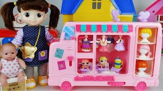 Baby Doll dress shop car and house story music play - ToyMong TV 토이몽