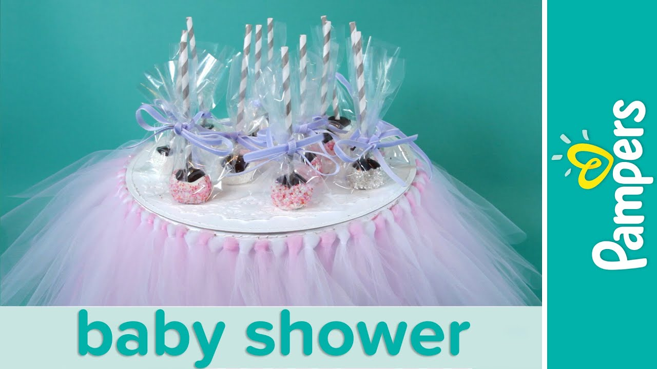 princess baby shower ideas chocolate brownie cake pops pampers
