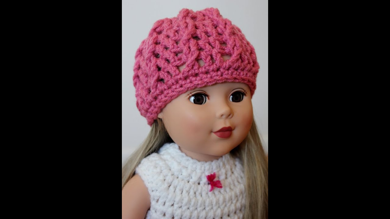 Crochet American Girl Doll Hat Twisted Cable Beanie