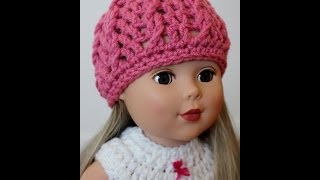 Crochet American Girl Doll Hat Twisted Cable Beanie - Right Hand Version
