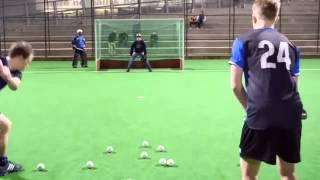 AMAZING hockey goal tending...with a baseball glove