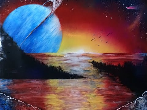 Time Lapse Sunset land and Planets Spray Paint Art (Episode #29)