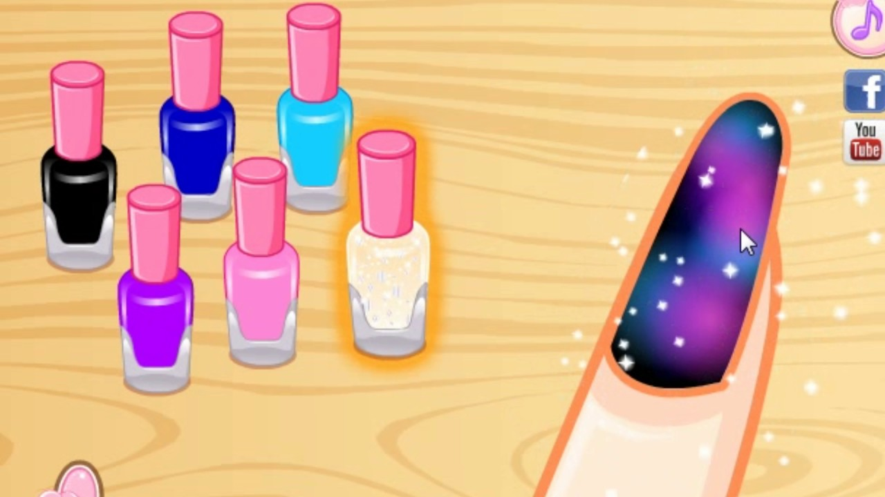 galaxy nail art designs game | diy tutorial girl game video - youtube