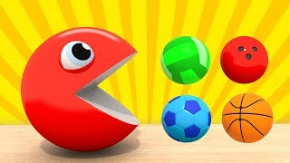 Learning Colors - PACMAN Colored Sports Balls | Developing cartoons for kids