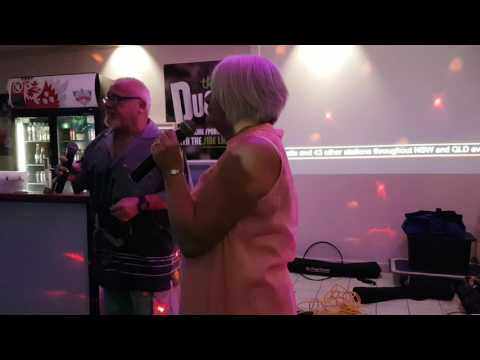 Foster and Joan singing up a Storm at the Beachcomber with Central Coast Karaoke