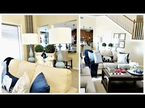 Family Room Tour | Blue and White Spring Trends For Your Home