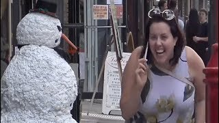 It's A Person & It Moves Scary Snowman Prank