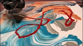 Fluid Painting Acrylic STRING SWIPE? Fluid Art WIGGLZ ART Please Share and Subscribe..
