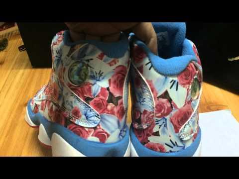 Women Nike Air Jordan 13 Blue Pink Flower Sneaker