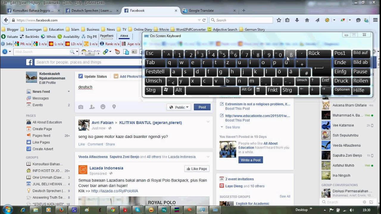 How To Use German Keyboard On Screen Windows 7 Youtube