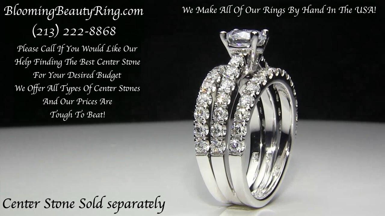 Unique Triple Shank Ring Wrap Style Engagement Wedding