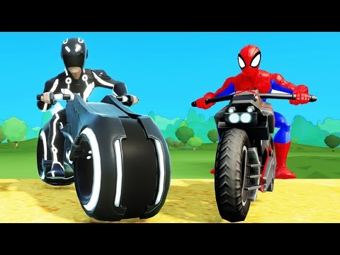 Race Cars COLORS, motobike on Truck for Kids in Spiderman Cartoon with Nursery Rhymes Songs