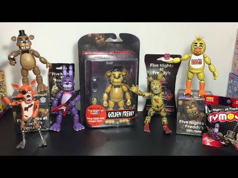 Five Nights at Freddys Golden Freddy Funko action figure, Mystery Minis, cards, Dog Tag & Mymoji