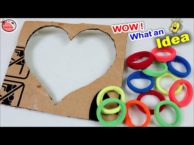 Cardboard and Hair Band Craft Idea    DIY Heart Shaped Wall Decor Showpiece    Home Decoration Idea