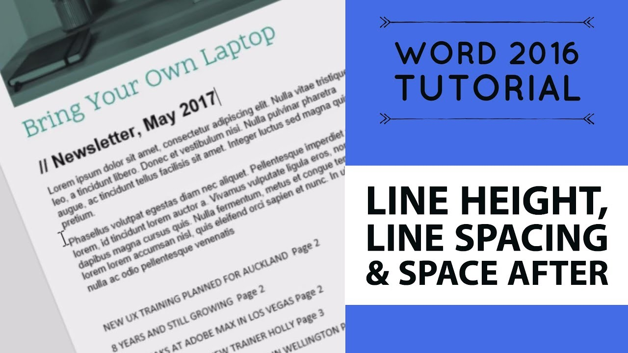 Line height, line spacing & space after - Word 2016 Tutorial [17/52]