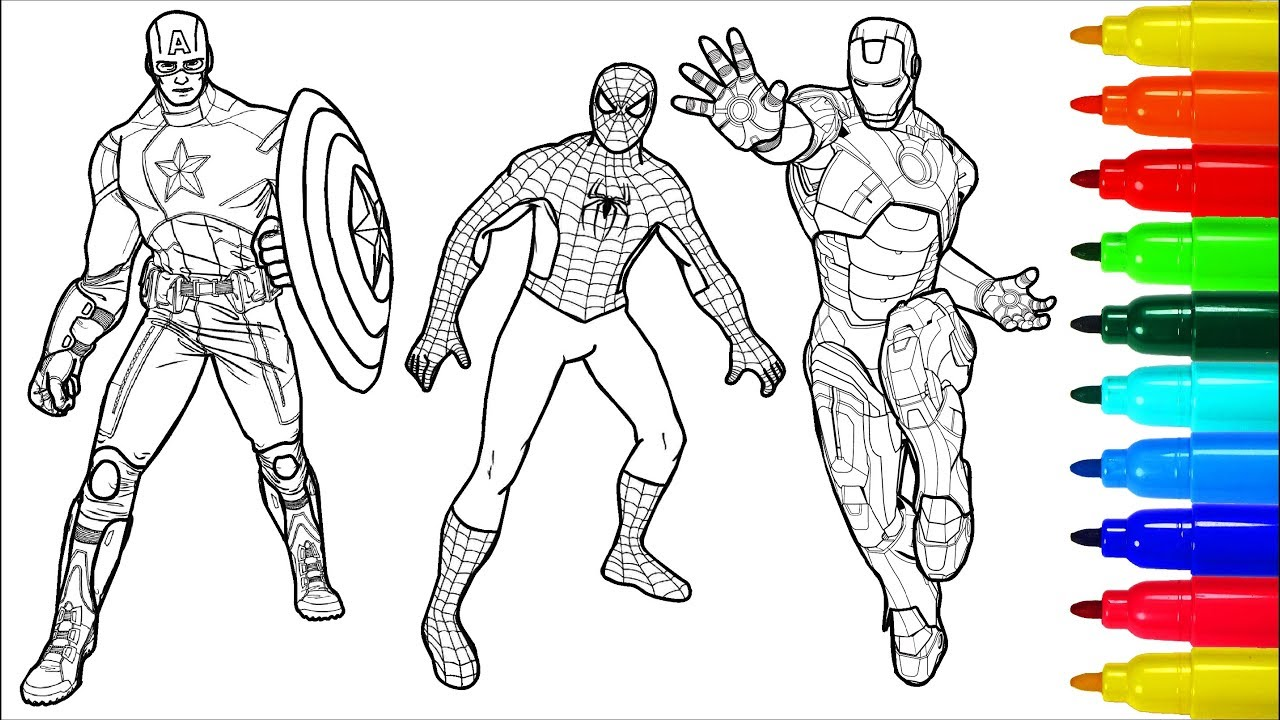 Spiderman Captain America Iron Man Coloring Pages Colouring Pages For Kids With Colored Markers Youtube