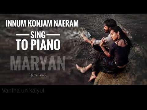 Innum Konjam Naeram | Maryan | Sing To Piano | Karaoke With Lyrics | A R Rahman | Athul Bineesh