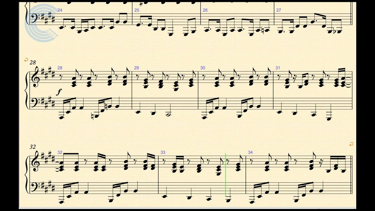 Piano Santeria Sublime Sheet Music Chords And Vocals Youtube