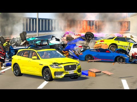 MASSIVE PILE UP SPIKE STRIP CRASHES #3  BeamNG Drive  CRASHdriven