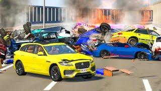 MASSIVE PILE UP SPIKE STRIP CRASHES #3 - BeamNG Drive | CRASHdriven