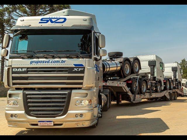 SVD transporta os caminhões da Fenatran para os clientes - MTED