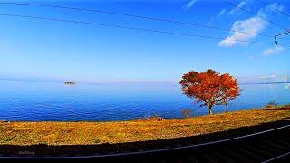 RailWay. By Transsib on EMU Train ED9M in autumn colors. Window View/ Транссиб в осенних красках.