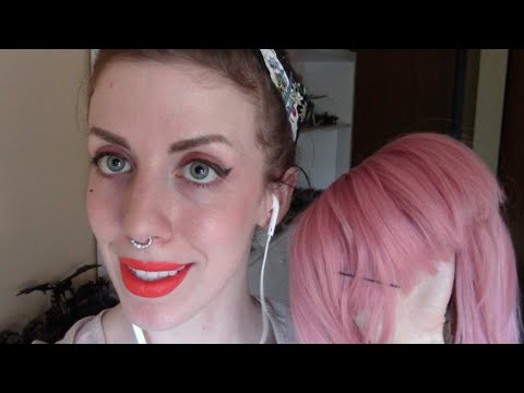 ASMR - Crossdressing wig and lip gloss - personal attention, hair brushing, softspoken