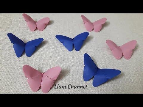 Gấp giấy - Cách gấp con bướm bằng giấy đơn giản nhất | DIY - ORIGAMI Paper Butterfly | Liam Channel
