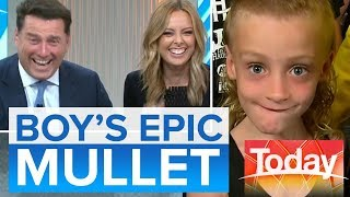 Aussie TV hosts stunned by boy's epic mullet   Today Show Australia