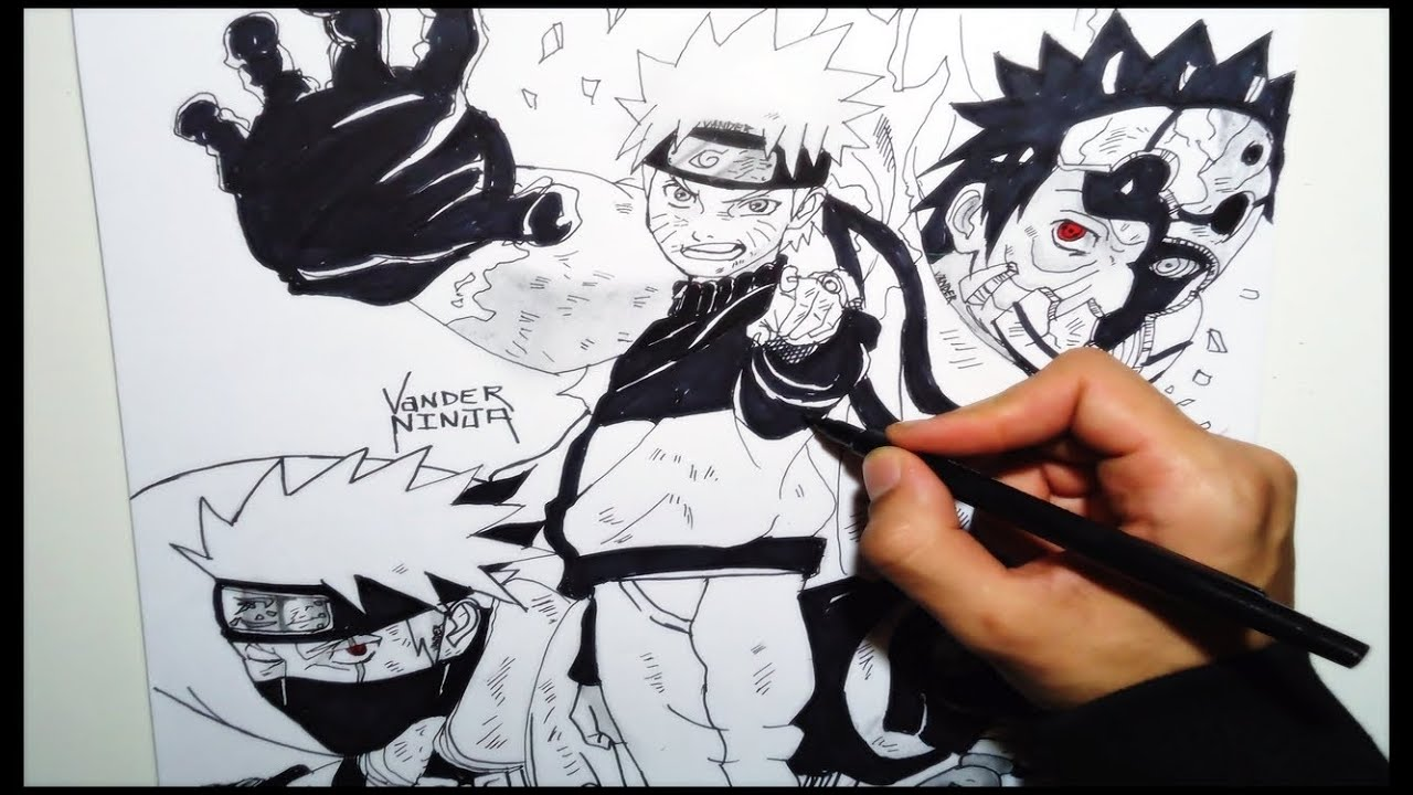 Drawing Naruto Kakashi Obito - YouTube